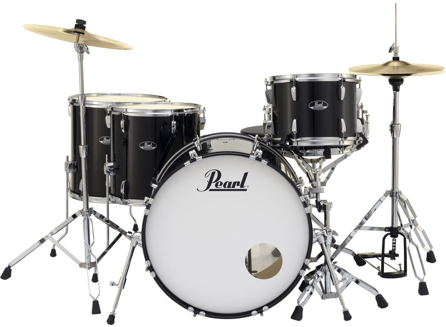 View larger image of Pearl Roadshow 5-Piece Drum Set - 22/14SD/16FT/14FT/12, Hardware, Cymbals, Throne, Jet Black