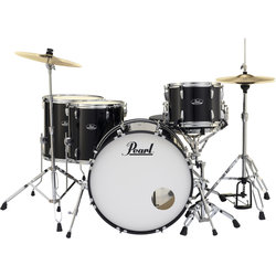 Pearl Roadshow 5-Piece Drum Set - 22/14SD/16FT/14FT/12, Hardware, Cymbals, Throne, Jet Black