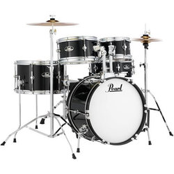 Pearl Roadshow Jr. 5-Piece Drum Kit - 16/12SD/13FT/12/10, Hardware, Cymbals, Throne, Jet Black