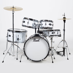 Pearl Roadshow Jr. 5-Piece Drum Kit - 16/12SD/13FT/12/10, Hardware, Cymbals, Throne, Pure White