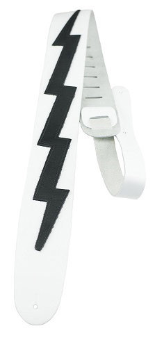 View larger image of Perri's Leather Guitar Strap - White with Black Lightning Bolt