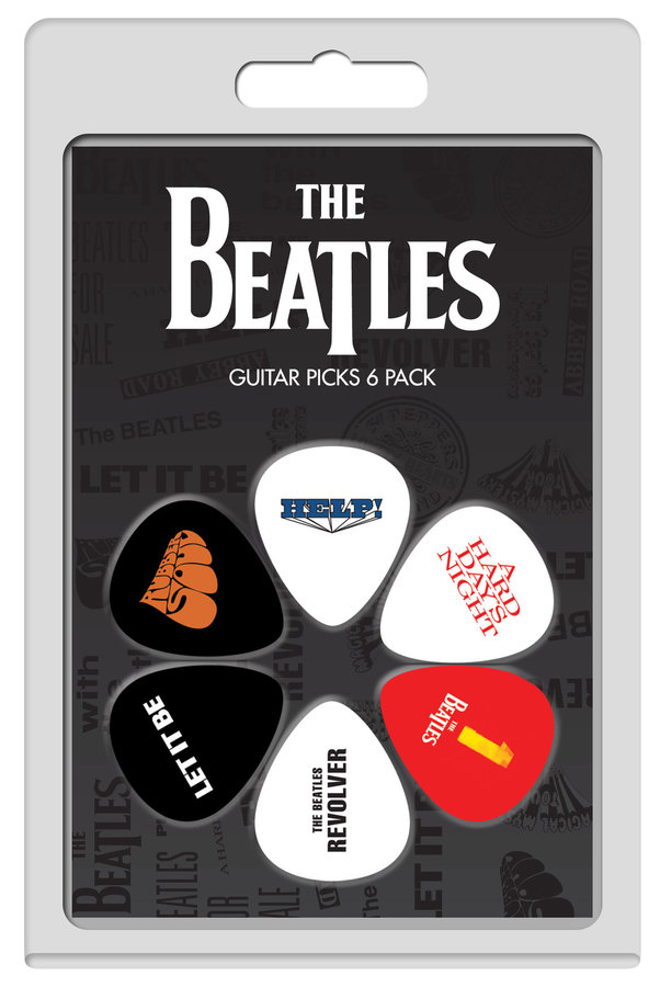View larger image of Perris The Beatles Licensed Guitar Picks - 6 Pack, Black, White, Red