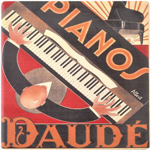 View larger image of Piano Abstract Deco Ceramic Coaster - 4-1/4x4-1/4