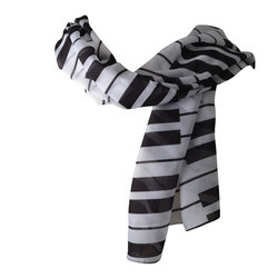 Piano Chiffon Scarf - Black/White