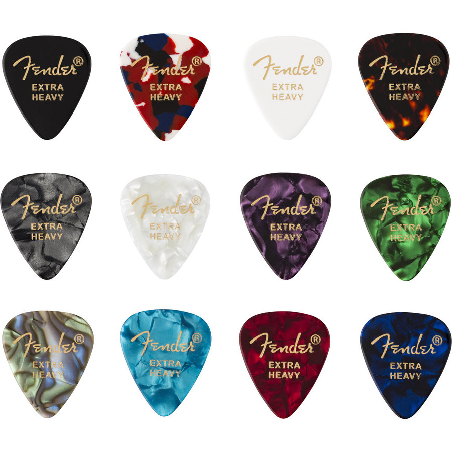 View larger image of Fender Celluloid Medley Picks - Extra Heavy, 351 Shape, 12 Packs