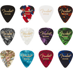 Fender Celluloid Medley Picks - Medium, 351 Shape, 12 Packs