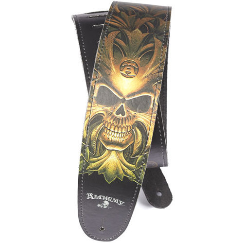 View larger image of Planet Waves Alchemy Leather Guitar Strap - Green Skull