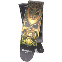 Planet Waves Alchemy Leather Guitar Strap - Green Skull
