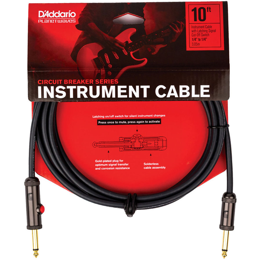 View larger image of Planet Waves Circuit Breaker Instrument Cable with Latching Cut-Off Switch - 10'