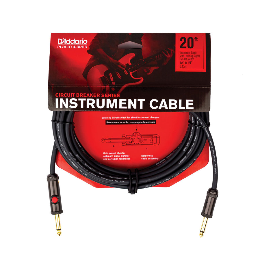 View larger image of Planet Waves Circuit Breaker Instrument Cable with Latching Cut-Off Switch - 20'