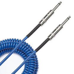 Planet Waves Custom Series Coiled Instrument Cable - 30', Blue