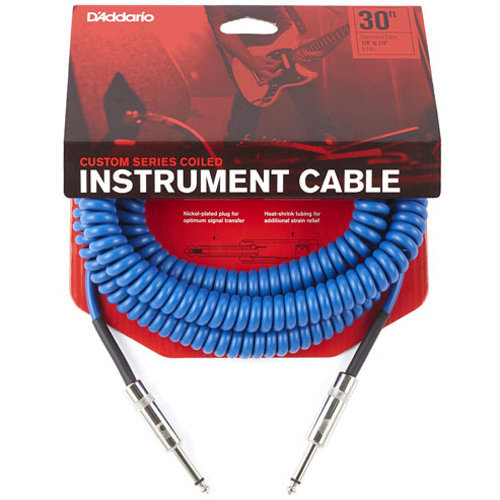 View larger image of Planet Waves Custom Series Coiled Instrument Cable - 30', Blue
