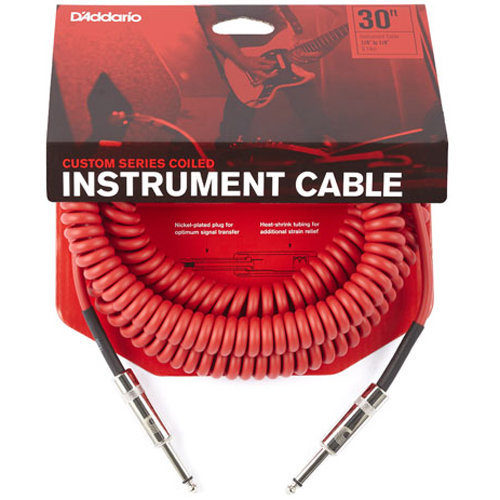 View larger image of Planet Waves Custom Series Coiled Instrument Cable - 30', Red