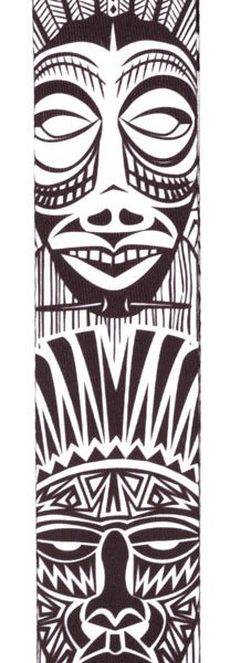 View larger image of Planet Waves Polyester Guitar Strap - African Masks, Black/White