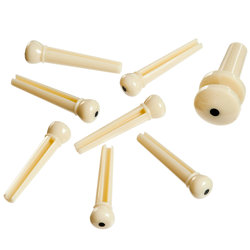 Planet Waves PWPS12 Molded Bridge Pins with End Pin - Ivory with Black Dot - Set of 7