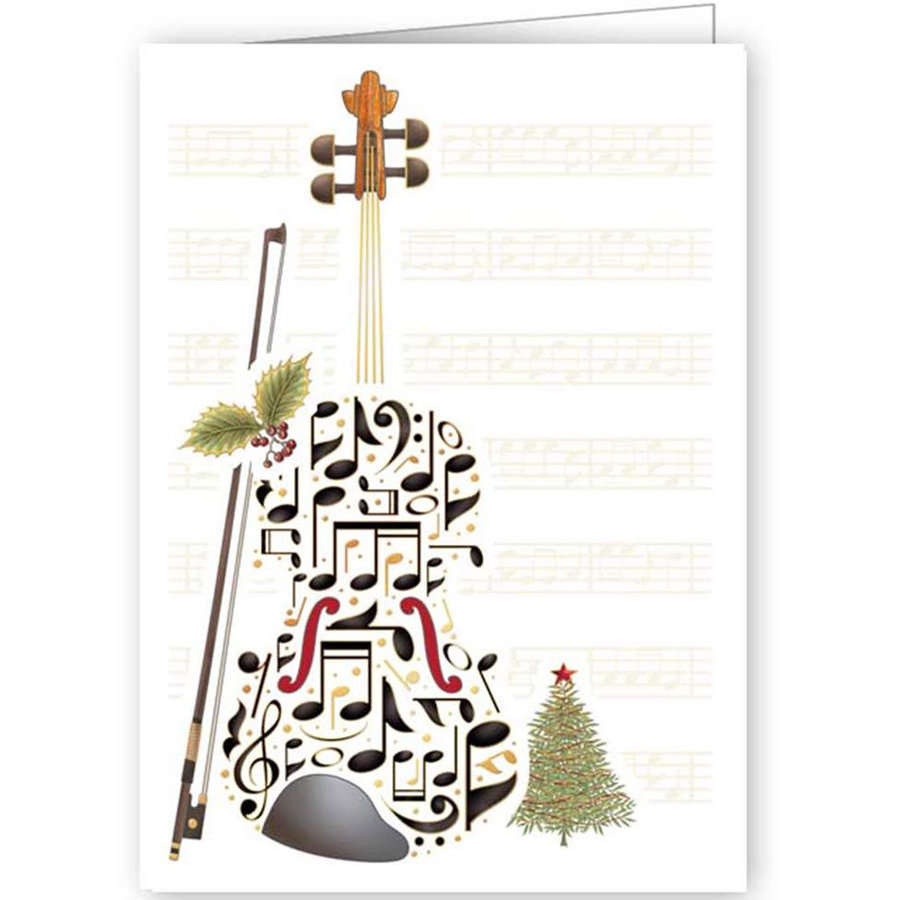 View larger image of Quire Double Bass Music Notes Christmas Card