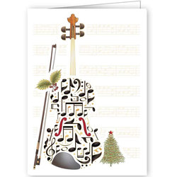 Quire Double Bass Music Notes Christmas Card