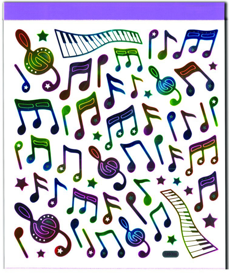 View larger image of Rainbow Music Note Stickers