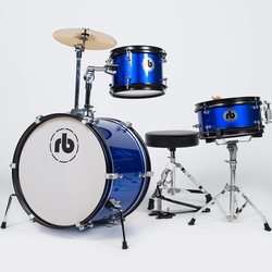 RB Drums Junior 3-Piece Drum Kit - 16/10SD/8, Hardware, Cymbal, Throne, Blue Sparkle