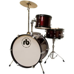 RB Drums Junior 3-Piece Drum Kit - 16/10SD/8, Hardware, Cymbal, Throne, Metallic Wine Red