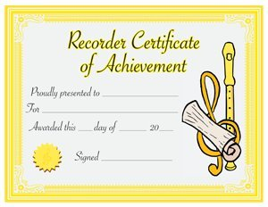 View larger image of Recorder Level 1 Certificate (30-pack)