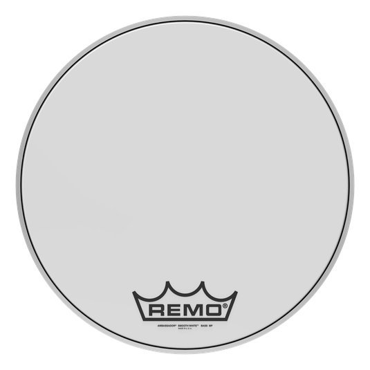 View larger image of Remo Ambassador Smooth White Crimplock Bass Drumhead - 18