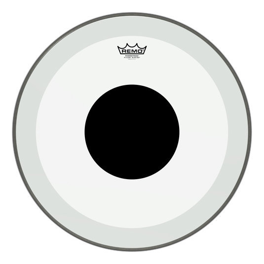 View larger image of Remo PowerStroke P3 Clear Black Dot Bass Drumhead - Top Black Dot, 20