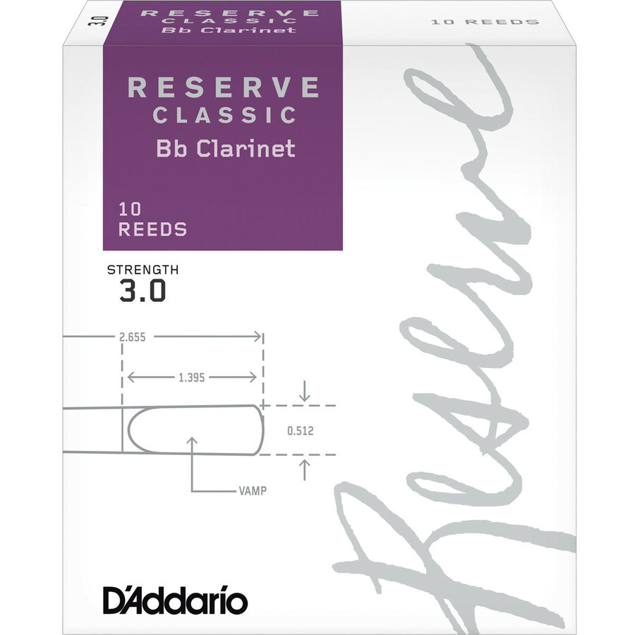 View larger image of D'Addario Reserve Classic Bb Clarinet Reeds - #3, 10 Box