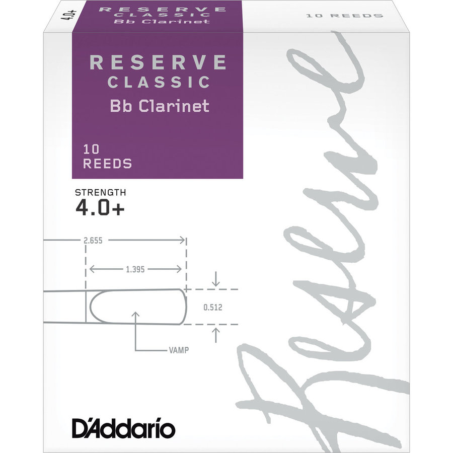 View larger image of D'Addario Reserve Classic Bb Clarinet Reeds - #4+, 10 Box