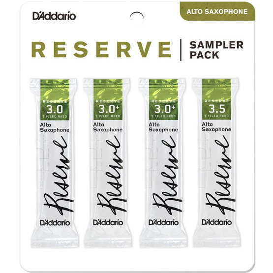 View larger image of D'Addario Reserve Reed Sampler Pack - Alto Saxophone 3/3+/3-1/2+, 4-Pack