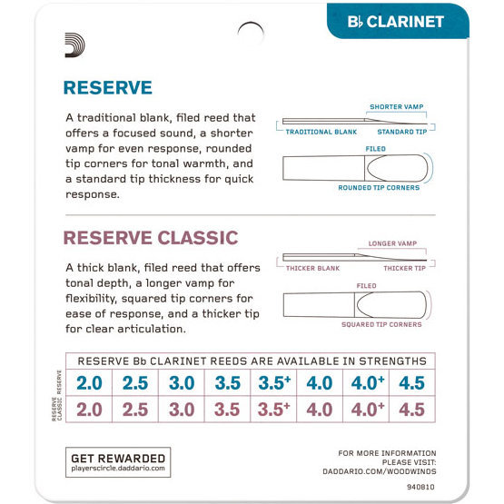 View larger image of Reserve Reed Bb Clarinet Sampler Pack - #3/3-1/2, 4 Pack