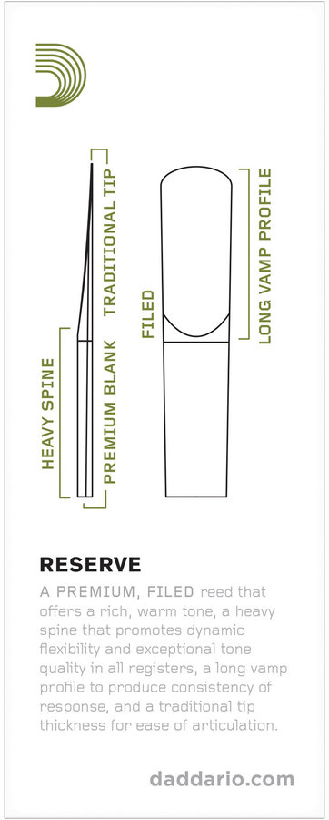 View larger image of D'Addario Reserve Tenor Saxophone Reeds - #3+, 2 Pack