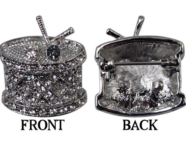 View larger image of Rhinestone Drum Brooch - Silver