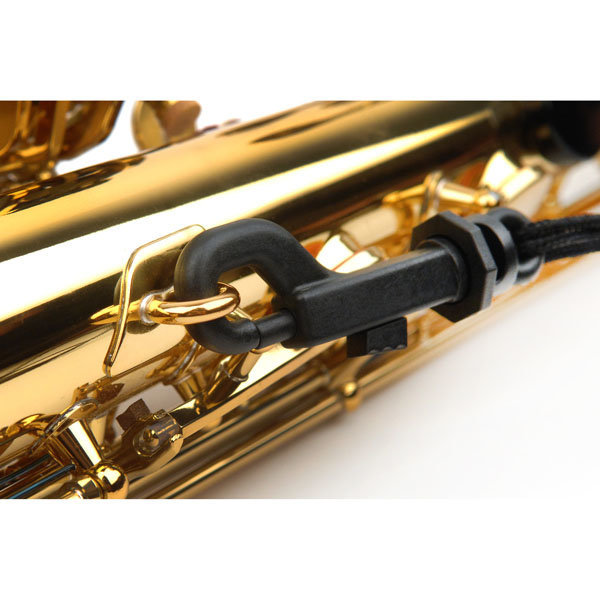 View larger image of Rico Fabric Strap with Plastic Snap Hook for Soprano or Alto sax in Black