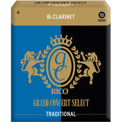 Rico Grand Concert Select Traditional Bb Clarinet Reeds - #4, 10 Box