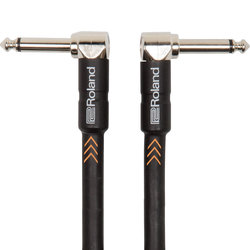 Roland Black Series Instrument Cable - 1/4 Right Angle TS to 1/4 Right Angle TS, 1'