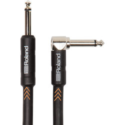 Roland Black Series Instrument Cable - 1/4 Right Angle TS to 1/4 TS, 10'