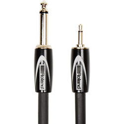 Roland Black Series Interconnect Cable - 1/4 TS to 3.5mm TS, 5'