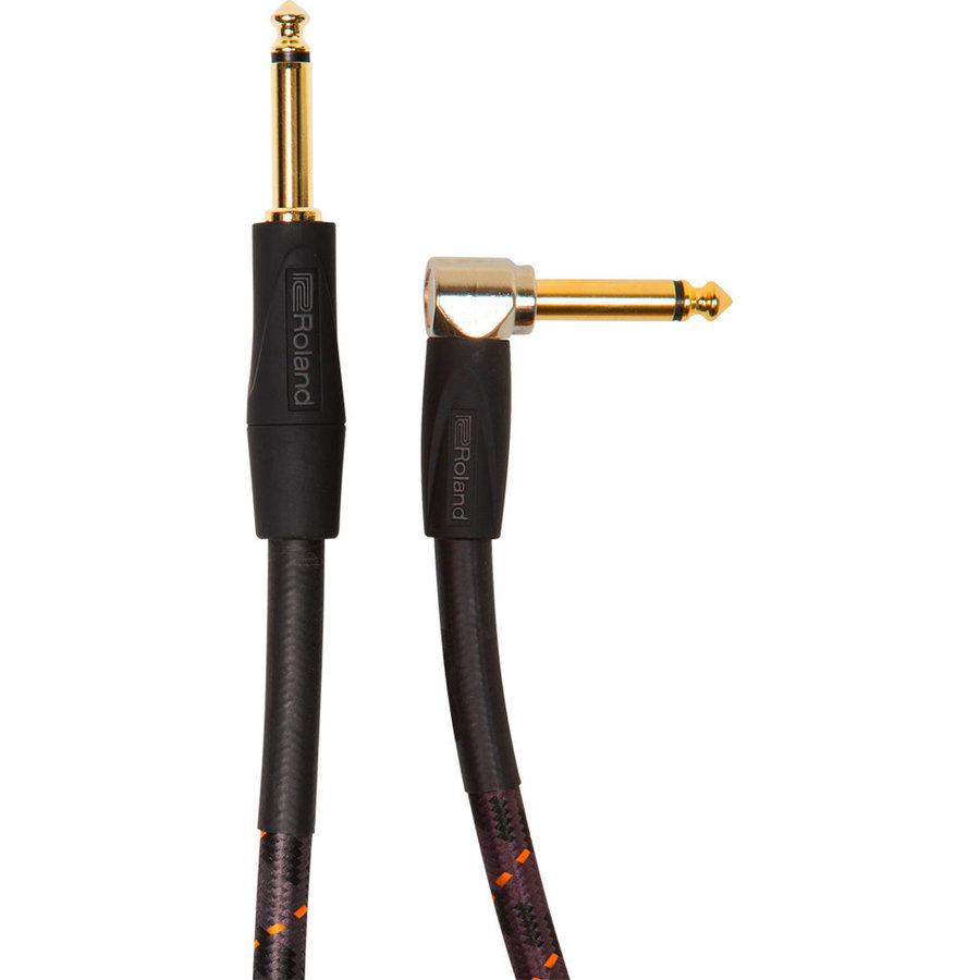 View larger image of Roland Gold Series Instrument Cable - 1/4 Right Angle TS to 1/4 TS, 10'