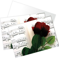 Rose and Sheet Music Note Cards - 10 Box