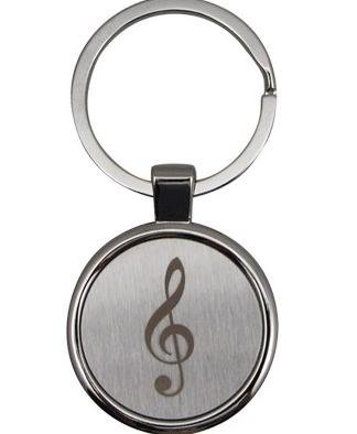 View larger image of Roud G-Clef Engraved Keychain - Satin/Chrome
