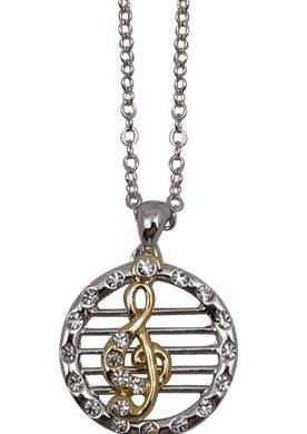 View larger image of Round G-Clef and Staff Necklace - Two-Tone, Silver