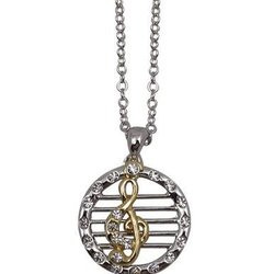 Round G-Clef and Staff Necklace - Two-Tone, Silver