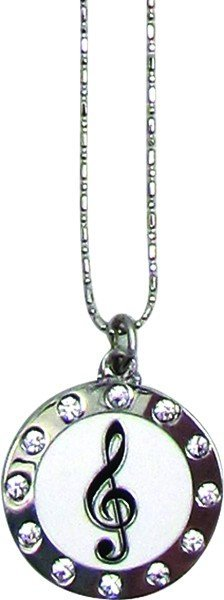 View larger image of Round G-Clef Necklace with Rhinestones