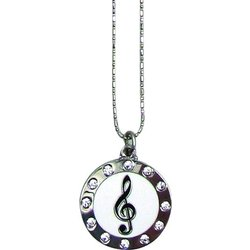 Round G-Clef Necklace with Rhinestones