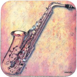 Sax Sheet Music Vinyl Coaster - Square