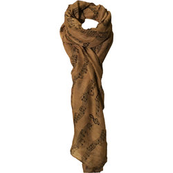 Sheet Music Print Scarf - Beige/Black