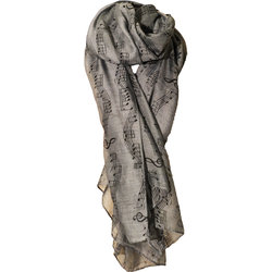 Sheet Music Print Scarf - Grey/Black