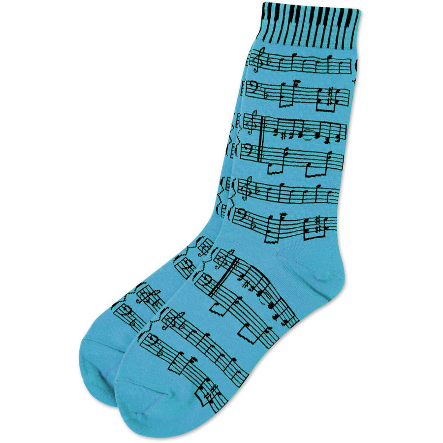 View larger image of Sheet Music Socks - Neon Blue