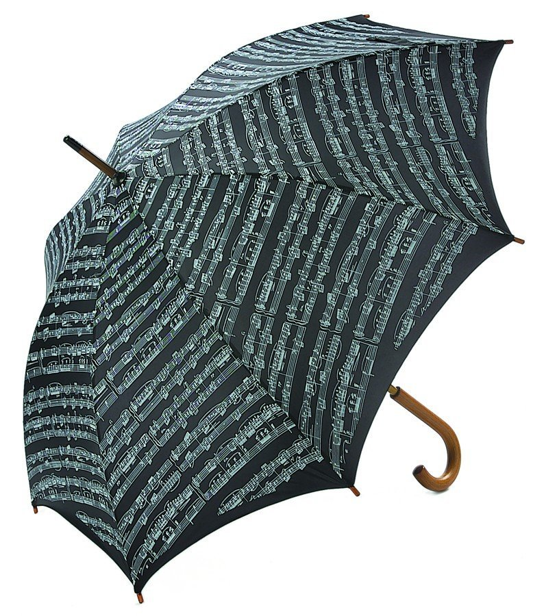 View larger image of Sheet Music Umbrella with Wooden Handle - Black/White